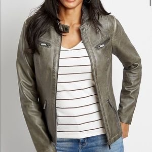 Hooded Faux Leather Jacket Small Gray sold out